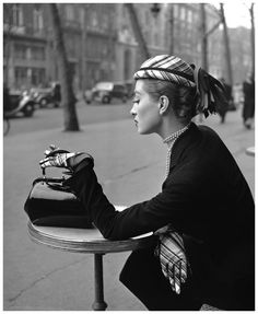 vintage everyday: Capucine at Cafe de la Paix, Paris, 1952