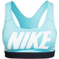 Nike Pro Classic Logo Bra ($53) ❤ liked on Polyvore featuring activewear, sports bras, tops, nike, crop tops, sport, aqua, sports fashion, womens-fashion and sports bra