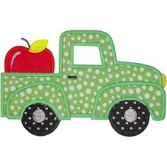 back to school apple truck applique from planet applique