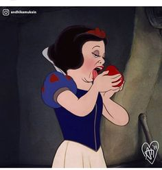 Walt Disney // Snow White bites the poisoned apple and meets her fate: gives into sexual temptation and is violently punished for her seduction. Humour Disney, Funny Disney Memes, Disney Jokes, Cartoon Memes, Disney Cartoons, Funny Memes, Hilarious, Disney Magic, Disney Art
