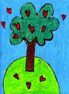 Hearts and Tree Drawing. Art Projects for Kids