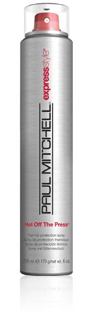 Hot Off the Press by Paul Mitchell. It is the BEST thermal protecting spray out there! Leaves your hair feeling super silky and healthy instead of sticky, crunchy, or oily like other thermal sprays do! LOVE THIS!