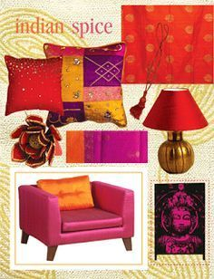 Thinking pink and orange is the way to go with some purple accents!