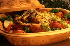 Country French Chicken takes your taste buds to the French countryside when you prepare this flavor-packed recipe for whole chicken and veggies that roast to tender perfection with white wine and fresh herbs. Roast Chicken Recipes, Roasted Chicken, Baked Chicken, Beef Recipes, Cooking Recipes, Healthy Recipes, Chicken Quiche, Oven Chicken, Chicken Curry