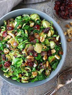 Flavored with ginger and garlic, this Brussels Sprouts Kale Sauté with Cranberries & Walnuts is a nutritious addition to your holiday table. Brussel Sprout Salad, Brussels Sprouts, Apple Crisp With Oatmeal, Sweet Dinner Rolls, Vegetable Crisps, Gluten Free Thanksgiving, Sauteed Kale, Sweet Potato Casserole, Healthy Recipes