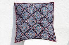 聖誕節禮物 限量一件 木刻印抱枕套 / 純棉抱枕套 / 印花抱枕套 / 手工印抱枕套 - indigo 藍染 摩洛哥色彩