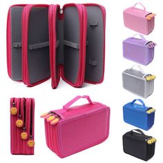 Only buy best 72 holes 4 layers pen pencil case stationary pouch bag travel cosmetic brush makeup storage bag sale online store at wholesale price. Makeup Brush Storage, Cosmetic Storage, It Cosmetics Brushes, Bag Organization, Pouch Bag, Bag Sale, School Supplies, Art Supplies, Bag Storage