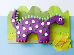 Scrumptiously Shaped Dino. Gabe's cake.