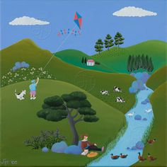 A Naive Giclee Print of my original acrylic painting, Kite Flying