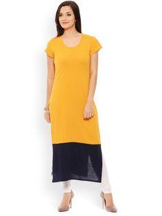 #RIGO #PATOLA #Multi-Coloured #Solid #Cotton Short Sleeve Regular Fit Round Neck #Kurti