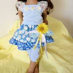 Doll Clothes 18 inch Dolls Blue Daisy 4 PC Doll Clothes For American Girl and Similar Dolls. $17.50, via Etsy.