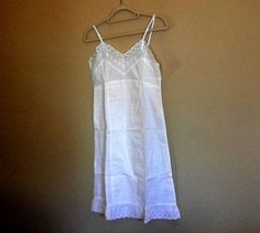 Antique Ladies Slip Petticoat - White Cotton by CircaPasse on Etsy