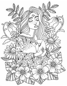 People Coloring Pages, Cool Coloring Pages, Coloring Sheets, Adult Coloring, Coloring Books, Digital Drawing, Relaxing Colors, Cute Drawings, Animal Drawings
