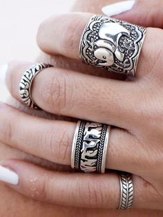 Silver Etched Elephant Ring Pack | Choies