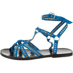 Pre-owned Pierre Hardy Studded Wrap-Around Sandals ($130) ❤ liked on Polyvore featuring shoes, sandals, blue, blue suede shoes, wrap sandals, pierre hardy, wrap around sandals and suede shoes