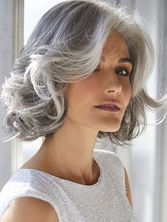 The Amal Synthetic Wig by Rene of Paris is a shaggy bob with loose, romantic curls and softly layered fringe. Curly Hair White Girl, Short Grey Hair, White Hair, Black Hair, Short Silver Hair, Silver Hair Dye, Choppy Bob Hairstyles, Wig Hairstyles, Thick Hairstyles