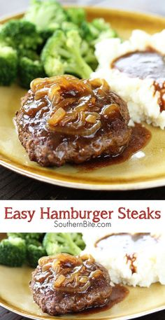 Hamburger steak with country gravy salisbury steak recipe and easy hamburger steak recipe no gravy 4 southern hamburger steak onion gravy salisbury steak with mushroom Hamburger Steak Recipes, Hamburger Steaks, Ground Beef Recipes, Easy Hamburger Meat Recipes, Hamburger Dishes, Beef Dishes, Food Dishes, Main Dishes, Salisbury Steak