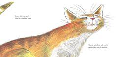 Paul Galdone illustrator. cat met platte kop en ogen dicht, in de wind of door het gras lopend.