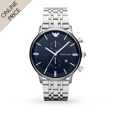 #Emporio #Armani AR1648 Stainless Steel Gents Watch | #Designer #Watches | Watches | Goldsmiths