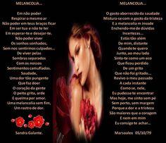 Melancolia por Sandra Glante e Marsoalex. - Encontro de Poetas e Amigos