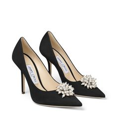 Black Suede Pumps with Pearl Embroidery. Pump Shoes, Shoe Boots, Shoes Heels, Stiletto Heels, High Heels, Cinderella Shoes, Black Suede Pumps, All About Shoes, Dream Shoes