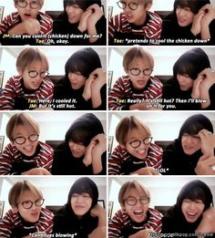 Jimin & Taehyung friendship is too great ahaha. & tae looks really good in glasses lol