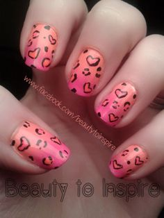 www.facebook.com/beautytoinspire peach pink ombre gradient heart nail art manicure hearts leopard cheetah print girly nails designs animal