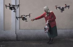 In the future we may see a slight increase of drones in the sky. There will be regulations how and where drones can be utilized. Especially concerns for mother nature. The future looks bright for drones. Drones, Cyberpunk, Design Spartan, Oldschool, Art Archive, Russian Art, Illustrations, Misfits, Humor