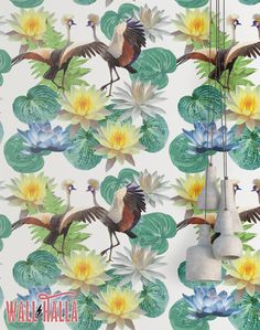 Cranes and Flowers Wallpaper - Removable Wallpaper - Colorful Crane and Flower Wallpaper - Floral Print - Tropical Peel and Stick Wallpaper by WallHalla on Etsy https://www.etsy.com/listing/489095104/cranes-and-flowers-wallpaper-removable