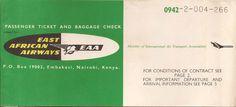 East African Airways Ticket 1966