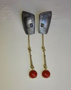 Earrings: Silver, Coral and Gold - #borghesi.it - #veronaforever…