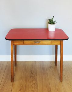 Vintage 1950s / 1960s Red Formica Top Wooden by emmalovesxxx, £185.00