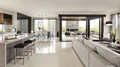 Australian home building company Carlisle Homes recently completed Sorrento Residence, a modern house located in Melbourne, Australia. Room Interior Design, Kitchen Interior, Kitchen Design, Design Room, Layout Design, Kitchen Ideas, Carlisle Homes, Open Plan Kitchen Living Room, Kitchen Grey