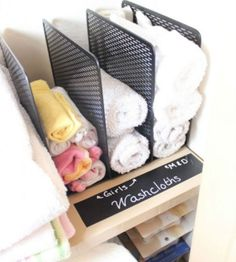 Use a file sorter to store washcloths.