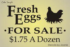 LG Stencil Fresh Eggs FOR Sale HEN Nest Chicken Prim Country Farm Yard RD Signs | eBay