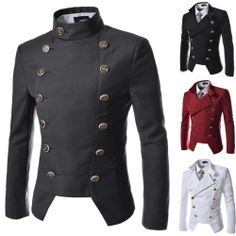 Men's Double Breasted Military Jackets Slim Fit Classic Vintage Retro Outer NJK4