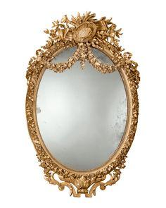 Antique Mirror, Napoleon III Period, Louis XVI, Woodwork, French at rauantiques.com