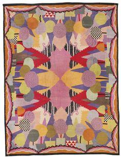 René Crevel CARPET woven twice with designer's monogram RC handwoven wool 192 1/8  x 144 1/8  in. (488 x 366 cm) circa 1925