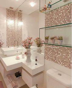Glass bathroom - 40 The Best Bathroom Glass Shelves Design Ideas Bathroom Design Small, Bathroom Interior Design, Interior Design Living Room, Kitchen Interior, Pink Home Decor, Glass Bathroom, Mosaic Bathroom, Bathroom Vanities, White Bathroom