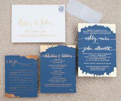 dark blue and mixed metallics wedding invitation