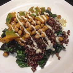 onion and chard with roasted buttercup squash and chickpeas, quinoa ...