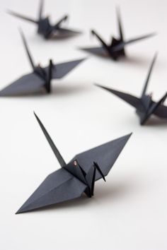 BLACK ORIGAMI CRANES with copper eyelets  Flock of 5 by FoldYouSo, £13.00