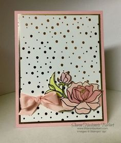 I am back with another card featuring the lovely Springtime Foils Specialty DSP. This is another easy card just a little coloring and a bit of cutting. This time I used the Pink Pirouette Stampin' Blends to color in the. Hand Made Greeting Cards, Making Greeting Cards, Greeting Cards Handmade, Foil Paper, Paper Cards, Diy Cards, Craft Cards, Make Your Own Card, Get Well Cards