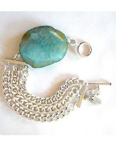 The Silver Triple Chain Agate Bracelet by JewelMint.com, $40.00
