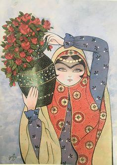 Arabian Art, Decoupage Printables, Madhubani Painting, Persian Culture, Pencil Painting, Fika, Woman Painting, Art And Architecture, Islamic Art
