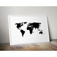 Plakat z mapą świata wypełniona czarnym kolorem