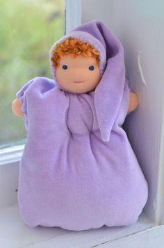 Bamboletta Frocks — Snuggle Baby - Lavender Velour, Blue Eyes, Ginger Hair with Freckles