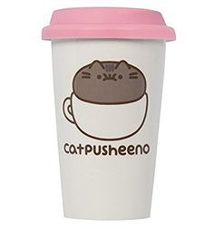 Amazon.com | White Pusheen Catpusheeno Ceramic Travel Mug: Coffee Cups & Mugs