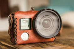 Old meets New with this vintage-inspired leather GoPro case.