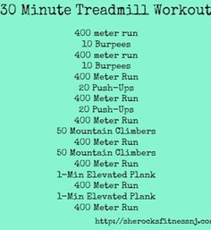 7 Boredom Busting Treadmill Workouts Cross training treadmill workout from She Rocks Fitness – 30 Days Workout Challenge 30 Minute Treadmill Workout, Track Workout, Hard Workout, Workout Challenge, Gym Workouts, At Home Workouts, Workout Ideas, Workout Plans, Elliptical Workouts